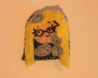 "Luna Lovegood and the Nargels from Harry Potter felt pin ""The Nargels showed me"" felt brooch"