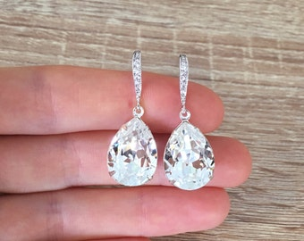 Swarovski Earrings, Clear Crystal Earrings, Teardrop Bridal Earrings, Bridal Jewelry, Wedding Gift, Bridesmaid Gift, Cubic Zirconia Earrings