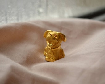 Super cute vintage pure 9999 24K gold Chinese dog statue
