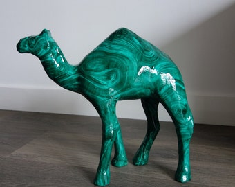 Hanpainted Dromedary. Malachite on papier mache