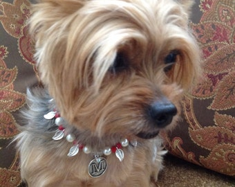 Red Dog Collar, Pearl Pet Necklace, Jewelry for Dogs, Fancy Pet Collar, Dog Collar Necklace, Custom Puppy Jewelry, Personalized Pet Collar