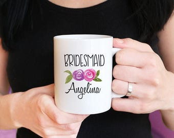 Bridesmaid Proposal Mug - Will You be my Bridesmaid - Watercolor Floral Mug - Maid of Honor Proposal - Bridesmaid Mug Gift Watercolor Mug
