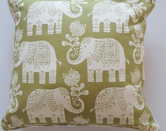 Piped Cushion Cover in Elephant ethnic print fabric 45cm square