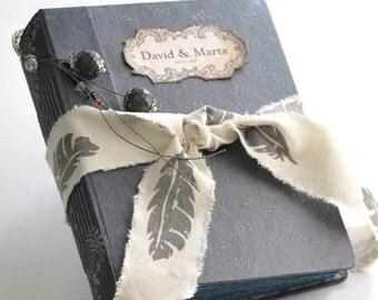 "Silver wedding guest book, romantic wedding, photo album, custom wedding photo booth album, vintage wedding, anniversary book. 8.5x6.5 """