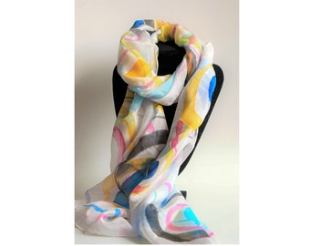 Abstract silk scarf, colourful scarf, hand painted silk scarf, silk wrap, handmade scarf, gift for women, luxury accessory, silk scarf
