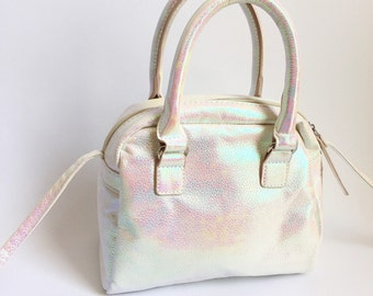 Iridescent Purse with Handles and Strap 90s Style