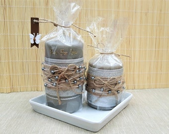 Unity candle set, Candle with glass holder, Pillar candles, Unique candles, Romantic bedroom decor, Rustic wedding candles with holders,