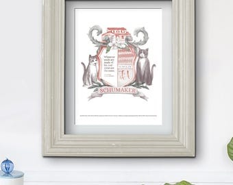 Modern Family Crest, Pet Illustration, Custom