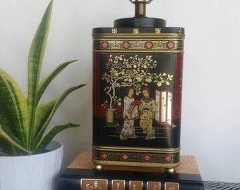 English Tea Tin Lamp/Oriental/Asian/Chinoiserie/Tea tin lamp/