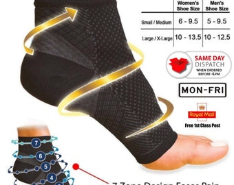 2 x Foot Anti Fatigue Compression Sleeve Relieve Swelling Varicosity Plantar Fasciitis Socks - 1pair