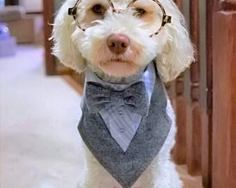 Gray Herringbone Tuxedo Dog Bandana with Bowtie