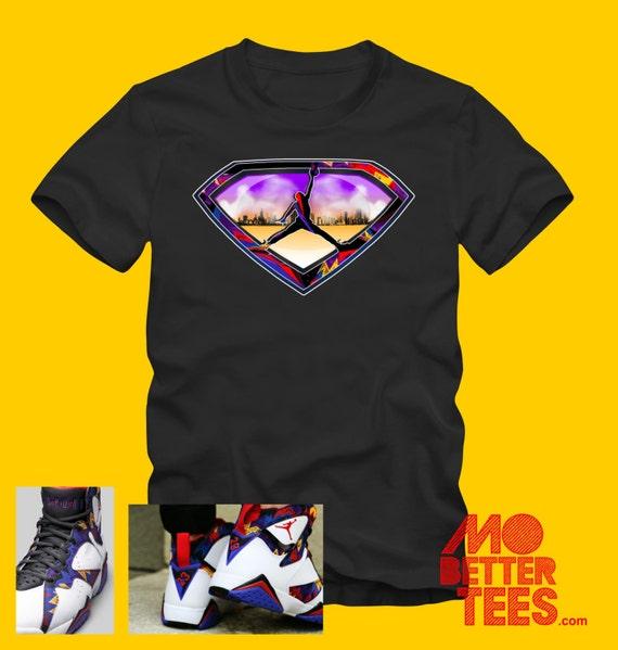 Men's Air Jordan Retro 7 Basketball Sweater black T-Shirt Art design Made to Match Shoes