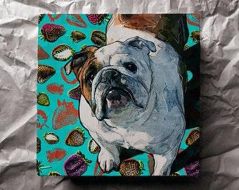 Custom pet portrait, dog portrait in pop art style on canvas, vivid digital pet painting design (english bulldog)