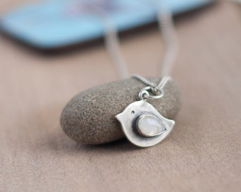 Silver Bird Pendant - Bird Jewelry - Moonstone Pendant - Moonstone Necklace