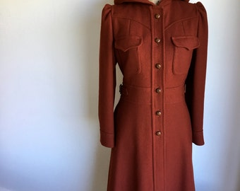 cranberry wool coat with hood