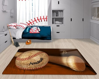Baseball Rug Personalized Orange Custom Area Matt