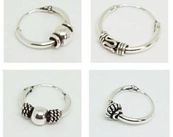 Tribal Bali Indian Hoop Sterling Silver Earrings, Unisex Hoop Earrings, Sterling Silver Jewelry