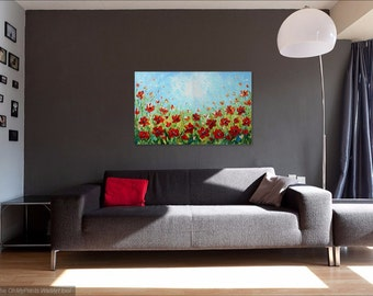 Poppy Painting, Abstract Flower Wall Art Canvas, Palette Knife Acrylic Painting, Impasto Modern Art, Textured Floral Landscape, Poppy Field
