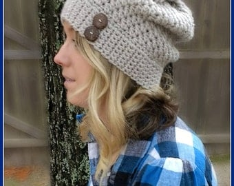 Alabaster Slouch Beanie Pattern - CROCHET PATTERN ONLY