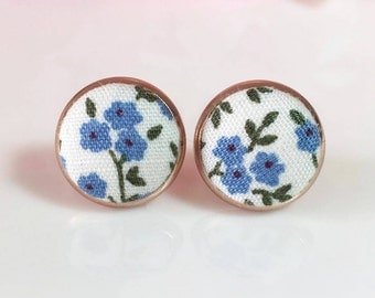 Flower Fabric Studs,Fabric Earrings, Rose Gold Stud Earrings,Blue Flower Stud Earrings,Button Earrings,Gift For Her,Vintage Flora Jewellery