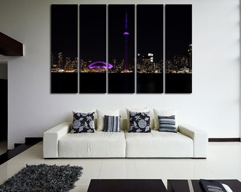 Large Wall Night Toronto Cityscape Canvas Color Multipanel Canvas Toronto View  Art Large  1-3-4-5 Panel Cityscape Print