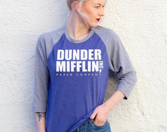 Dunder Mifflin, The US Office | Blue/Grey Baseball Tee