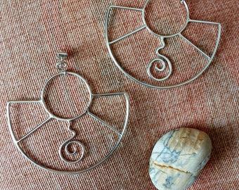Large Geometric Earrings 925 Silver, Sterling Silver Large Geometric Earrings, Handmade, Hoop Earrings