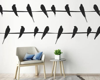 2 Lines Of Birds On Lines Wall Stickers