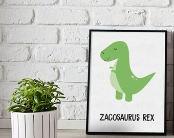 Personalised T-Rex dinosaur print - dinosaurs print - boys room prints - girls room prints - dino print - custom prints - kids room prints