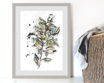 Herb Painting Print, Botanical Art Print, Nature Artwork, Watercolor and Ink Print, Botanical Wall Decor, Green Wall Art, Ink Drawing