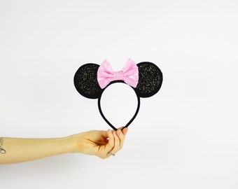 Minnie Mouse Ears Headband with Baby Pink Bow | Glitter Disney Minnie Ears with Sparkle Bow | Baby Girl Party Headband