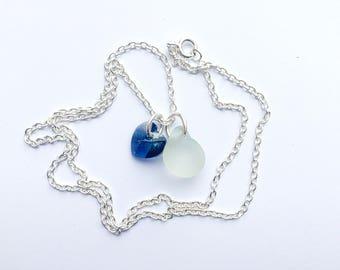 White Sea Glass Necklace, Sea Glass Necklace, Sea Glass Pendant, Sea Glass Jewelry