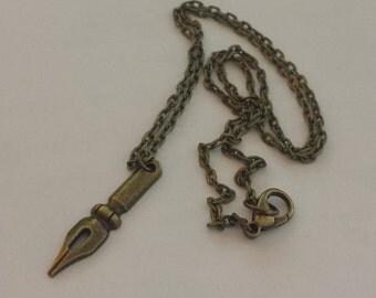Bronze Pen Nib Necklace