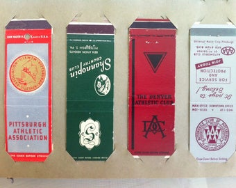 Vintage Match Book Covers, Set of Four, 4 Matchbook Covers, Pittsburgh Athletic Ass'n, Shannopin CC, Denver Athletic Club, AAA Pittsburgh