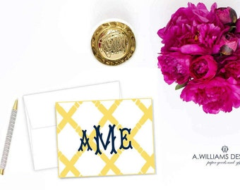 Bamboo Personalized Notecards/Monogrammed Notecards/ Personalized greeting cards/ Personalized Thank You cards 3.5x5