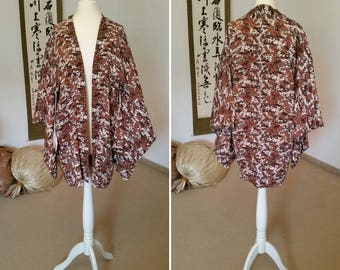 Vintage Haori/Kimono jacket/kimono/silk jacket/Vintage jacket/airy silk jacket/Haori in brown, white and gold