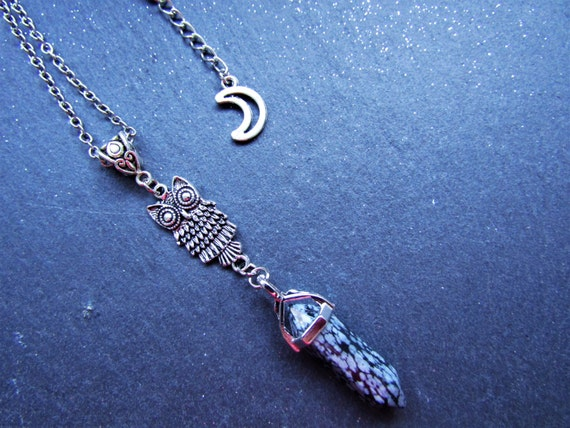 Snowflake Obsidian and Owl Necklace, Snowflake Obsidian Necklace, Owl jewelry, Witchy Necklace, Quartz Necklace, Obsidian Gemstone, Boho