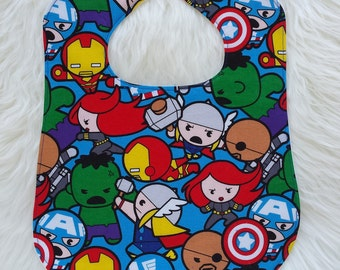 Kawaii Marvel Avengers feeding bib for babies and toddlers