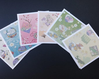 Japanese Mini Cards, set of 6, Blank Cards, Gift Cards, Thank You Cards, Small Cards