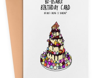 Re-usable Birthday card - Funny Birthday Card, Rude Card