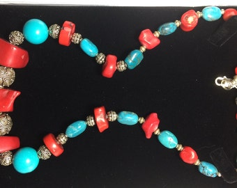 Necklace - Sterling Silver, Red Coral & Turquoise