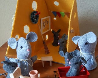 Felt Mice and Cheese Hut