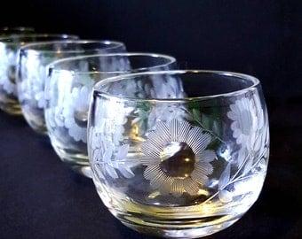 Vintage roly poly glasses, floral etched glasses, vintage barware, Mad Men era, glass votives, set of six glasses