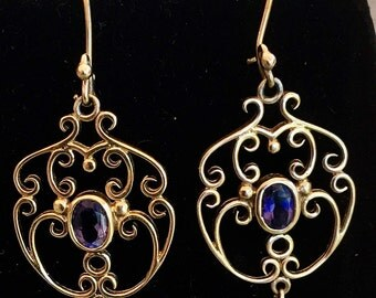 9ct Yellow Gold Iolite Art Nouveau Style Earrings