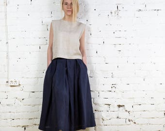 Linen skirt,linen summer skirt,black linen skirt,loose linen skirt, long linen skirt, linen maxi skirt,linen boho skirt,summer skirt/LS0001
