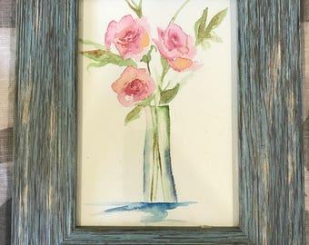 Rose in a Vase Watercolor
