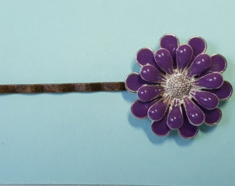 Purple Daisy Bobby Pin