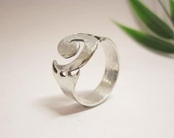silver ring, fantasy, hammered silver, handmade