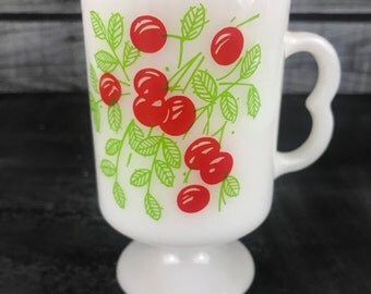 1950's Cherries Mug- Vintage Milk Glass- Food Blogger Photography Props