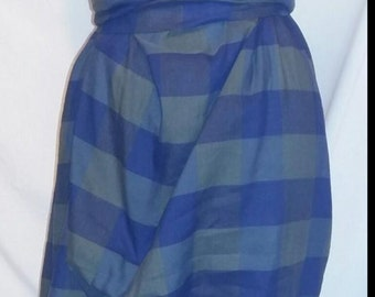 Blue/green cotton check cowl neck rouched hitch dress